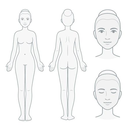 Vrouwelijk lichaam en gezicht grafiek, voor- en achteraanzicht met hoofd close-up. Lege vrouw lichaam sjabloon voor medische infographic. Geïsoleerde vectorillustratie. Vector Illustratie