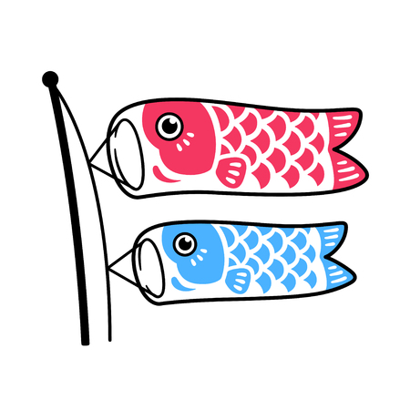 Koinobori, traditional Japanese fish flags drawing. Two koi carps waving in wing on pole, red and blue. Isolated vector illustration.