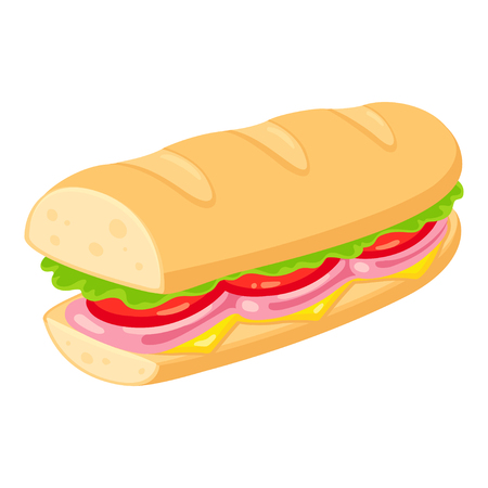 Sub style sandwich with ham, cheese, tomato and lettuce. Traditional deli sub vector clip art illustration.