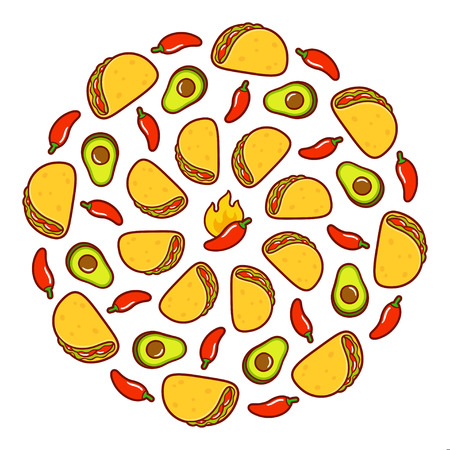 Mexican food round pattern. Circle of tacos, avocados and red chili peppers. Bright cartoon vector illustration on white background. Illustration