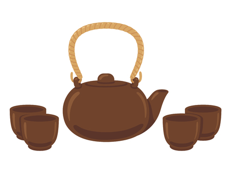 Japanese or Chinese tea set drawing. Clay teapot and cups for tea ceremony. Isolated vector illustration. Иллюстрация