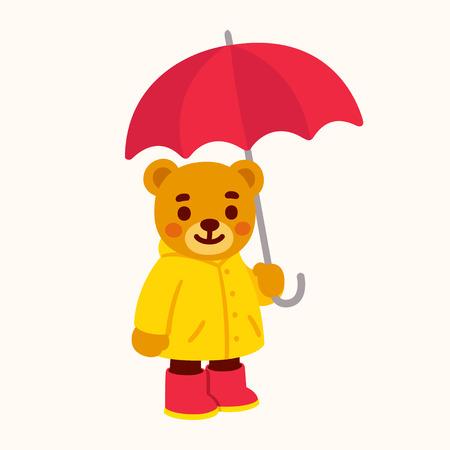 Cute cartoon teddy bear with umbrella. Bear character drawing with yellow raincoat and rain boots. Isolated vector clip art illustration. Ilustração