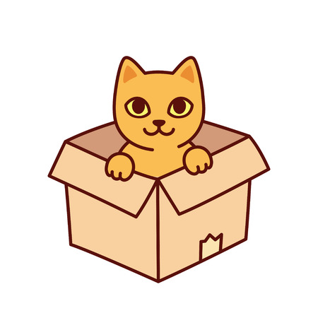 Cute cartoon cat in cardboard box. Funny kitty sitting in box, isolated vector clip art illustration.