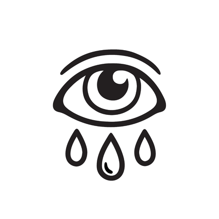 Eye with three tears, black and white drawing. Crying human eye and teardrop tattoo design. Isolated vector illustration.
