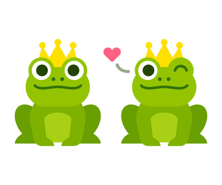 Cute cartoon frog prince with crown, sitting and winking with heart. Simple flat style vector illustration. Иллюстрация