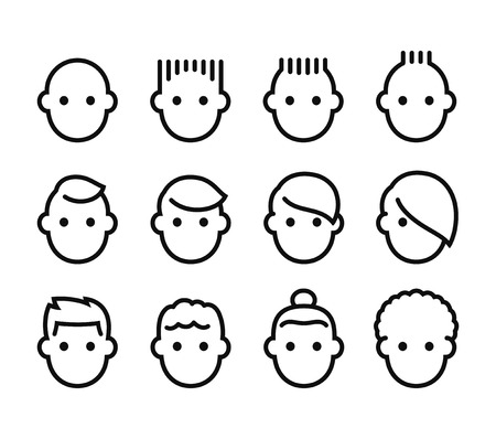 Male hairstyles icon set. Simple man face pictograms with different haircuts. Isolated vector illustration collection.