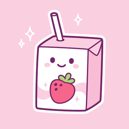 Cute cartoon strawberry milk box character. Kawaii milk carton with drinking straw and smiling face. Vector clip art illustration.
