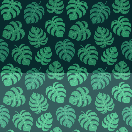 Monstera leaf seamless pattern on dark background. Simple hand drawn exotic plant leaves. Tropical summer texture vector illustration.