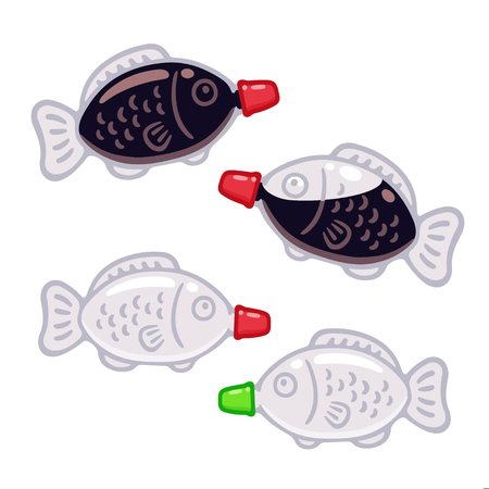 Fish shaped plastic soy sauce bottle set, full and empty. Traditional Japanese condiment container for sushi bento. Isolated vector clip art illustration set.