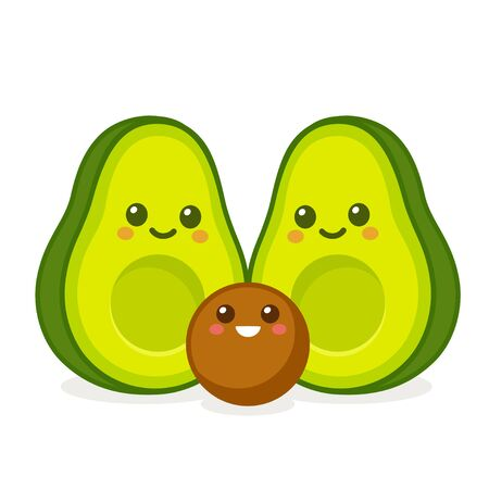 Cute cartoon avocado family, two parents and child. Funny kawaii faces character drawing. Isolated vector illustration.