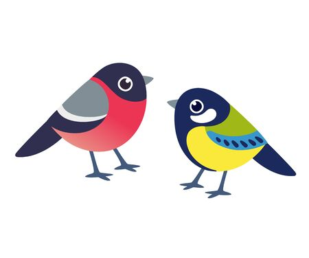 Bullfinch and Great Tit, small European winter birds in simple and cute cartoon style. Isolated vector bird clip art illustration.