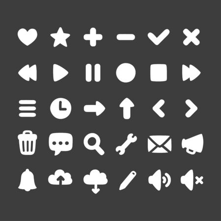 Set of multi-purpose interface icons for web, app or game. Simple hand drawn rounded cartoon style. Иллюстрация