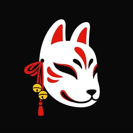 Kitsune mask with jingle bells on black background. Traditional Japanese fox mask vector illustration. Stok Fotoğraf - 124951296