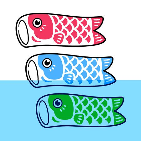 Koinobori, traditional Japanese fish flag set. Classic Koi fish design, symbol of Japan. Isolated vector clip art illustration.
