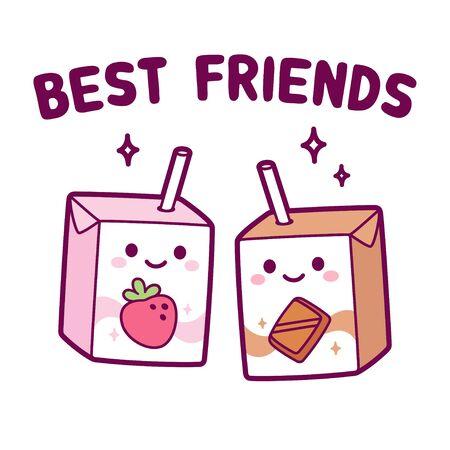 Simpatico cartone animato fragola e cioccolato scatola di latte, coppia di migliori amiche. Due cartoni di latte kawaii con cannuccia e faccina sorridente. Illustrazione di arte di clip di vettore isolato.