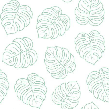 Monstera leaf seamless pattern, light green outline on white background. Simple hand drawn exotic plant leaves. Tropical summer texture vector illustration. Иллюстрация