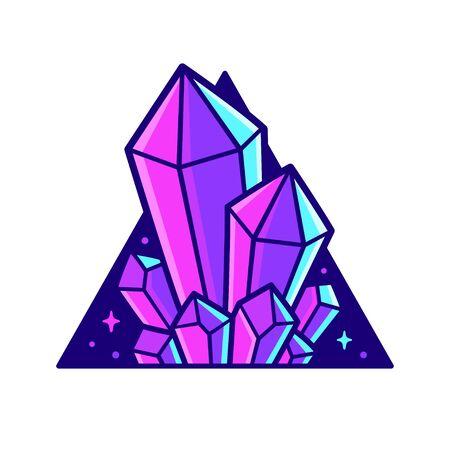 Neonviolette Kristalle im Dreieck. Stilvolle Kristalledelsteine-Vektor-Illustration.