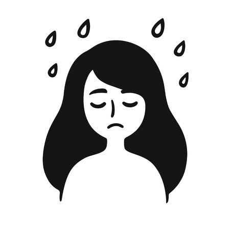 Depression and sadness, young girl with sad face under rain. Black and white simple cartoon drawing. Emotions and mental health vector clip art illustration. Иллюстрация