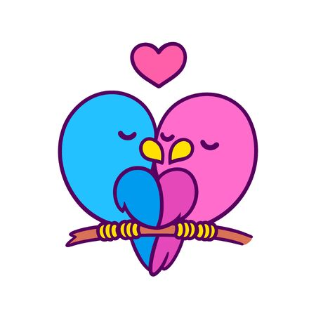 Cute cartoon birds couple kissing with heart. Pink female and blue male bird in love. Valentines day card vector illustration. Иллюстрация