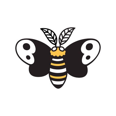 Cartoon moth drawing, simple and cute night butterfly doodle. Isolated vector clip art illustration. Иллюстрация