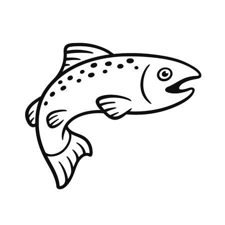 Dessin de saumon noir et blanc. Illustration de poisson dessiné à la main simple, clipart vectoriel isolé. Vecteurs