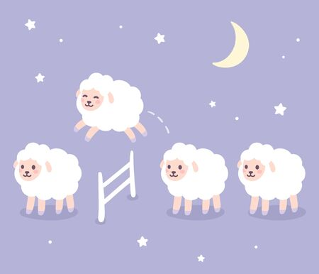 Cute cartoon sheep jumping over fence, good night drawing. Counting sheep for insomnia. Night sky with stars and moon. Hand drawn vector clip art illustration. Иллюстрация