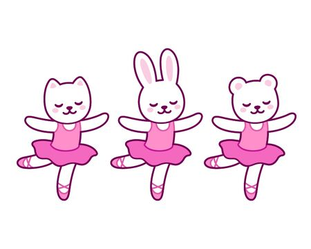 Cute cartoon animal characters dancing ballet. Little cat, rabbit and bear ballerinas in pink tutu. Kawaii and simple hand drawn vector illustration.