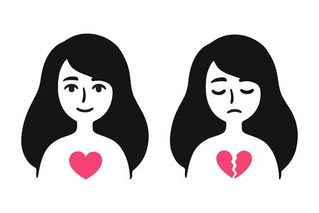 Girl in love and sad with broken heart. Breakup depression, feeling sad about relationship problems. Simple cartoon drawing, vector clip art illustration. Иллюстрация