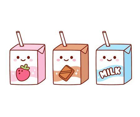 Słodkie postaci z kreskówek z mleka: truskawka, czekolada i zwykłe mleko. Kawaii kartony mleka ze słomką i uśmiechniętą twarzą. Zestaw ilustracji clipart na białym tle wektor.