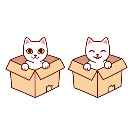 Cute white kitty in cardboard box. Funny cartoon cat sitting in box, isolated vector clip art illustration.