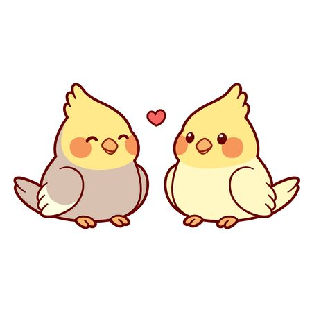 Cute cartoon cockatiel couple drawing. Little parrot birds in love with heart above. Isolated vector clip art illustration. Иллюстрация