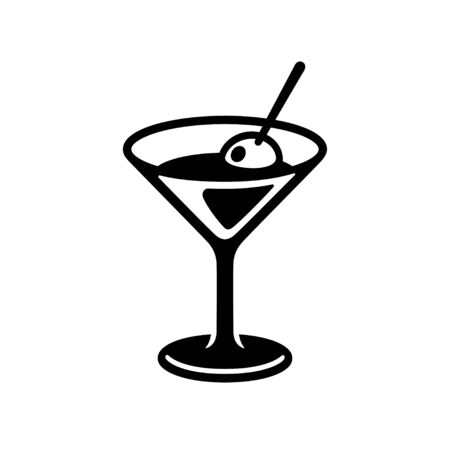 Glass of martini cocktail with olive. Black and white drink icon, simple and stylish bar. Isolated vector clip art illustration.