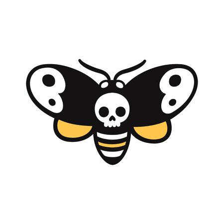 Cartoon drawing of Deaths head hawkmoth, moth with skull shape. Creepy Halloween doodle, tattoo design. Isolated vector clip art illustration. Иллюстрация