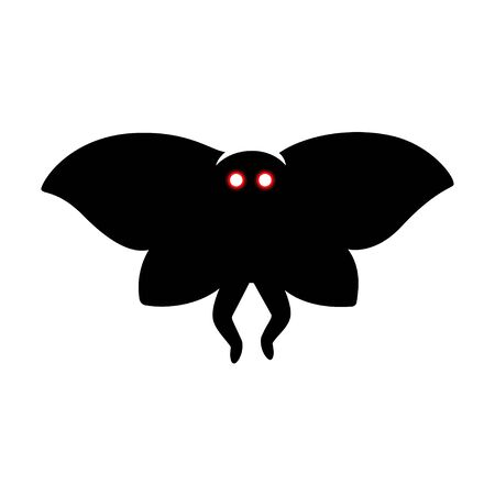 Mothman monster, paranormal cryptid creature from West Virginia folklore. Creepy silhouette vector illustration.