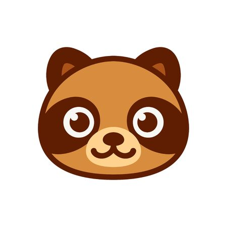 Cute cartoon Tanuki, Japanese raccoon dog character. Simple smiling raccoon face icon, vector illustration.