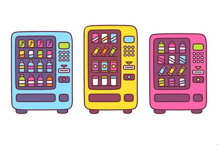 Cute cartoon vending machine drawing set. Automated snack food machines with drink bottles, chips and candy. Simple doodle style vector illustration.