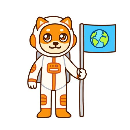 Cute cartoon dog astronaut character with Earth flag. Funny space exploration drawing for children. Isolated vector clip art illustration.
