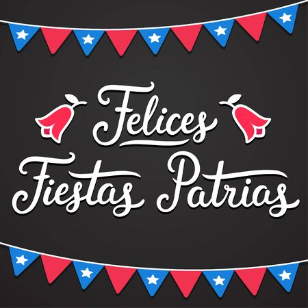 Felices Fiestas Patrias, Spanish for Happy National Holidays. Dieciocho, Independence Day of Chile. Text lettering with Copihue (national flower) and Chilean flags, vector design set.