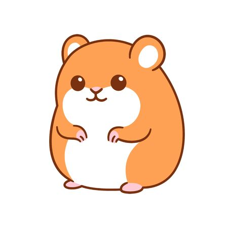 Cute kawaii hamster drawing, funny cartoon pet vector clip art illustration. Иллюстрация