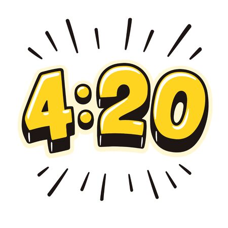 4:20 hand drawn lettering in cartoon comic style. Marijuana smoking time in cannabis culture. Isolated vector illustration.