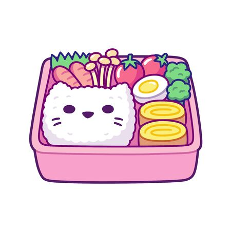 Cute cartoon bento box with cat face shaped rice, egg rolls, mushrooms and vegetables. Traditional Japanese lunchbox for kids. Simple hand drawn vector illustration.