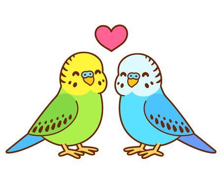 Disegno di coppia di pappagallini simpatico cartone animato. Piccoli uccelli di parrocchetto innamorati del cuore sopra. Illustrazione di arte di clip di vettore isolato.