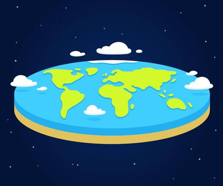 Cartoon flat earth illustration, simple style vector clip art.