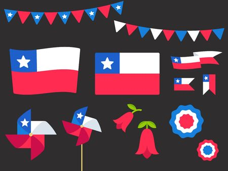 National Holiday Fiestas Patrias (Dieciocho), Independence Day of Chile, vector design elements set. Chilean flags, ribbons, pinwheels, rosettes, national flower Copihue. Иллюстрация