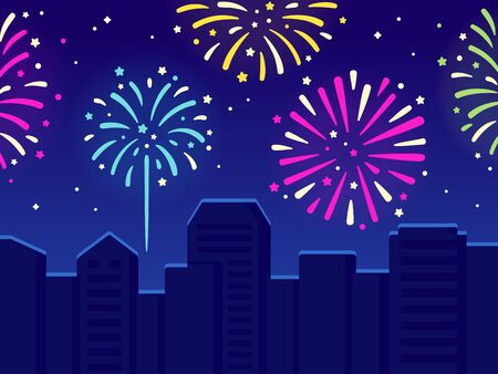 Fireworks in the sky over night city. New years or Independence day celebration vector illustration. Иллюстрация