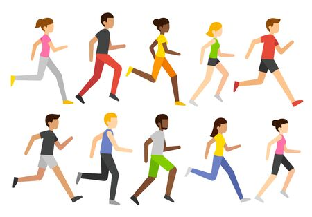 Cartoon jogging people set, marathon runners group. Diverse men and women running, simple and modern vector illustration style.