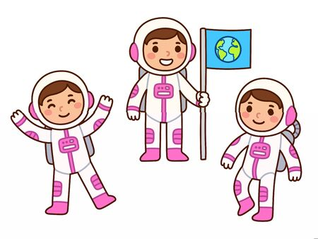 Cute cartoon astronaut girl set. Little girl astronaut in different poses, floating in space and holding flag. Isolated vector clip art illustration. Vettoriali