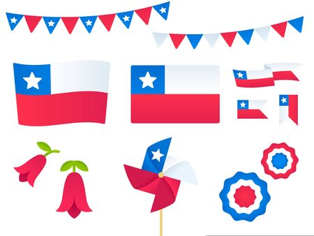 Chile vector design elements set. Flags, ribbons, pinwheels, rosettes, national flower Copihue. Fiestas Patrias (Dieciocho), Chilean Independence Day. Иллюстрация