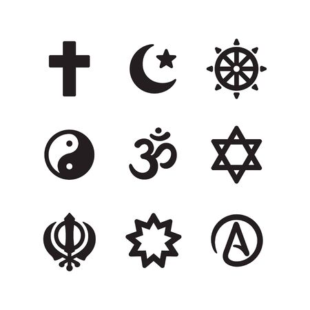 Icon set of religious symbols. Christianity, Islam, Buddhism, other main world religions and Atheism sign, simple and modern minimal style. Vector pictogram collection. 向量圖像