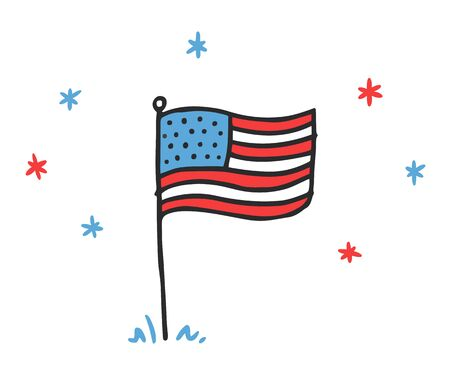 Hand drawn doodle style USA flag with stars. Childrens pencil drawing American banner for Independence day.